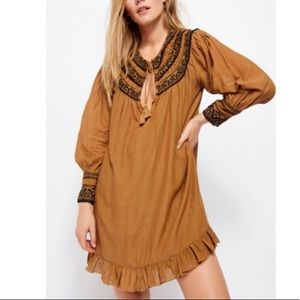 Free People Erin Embroidered long sleeve dress
